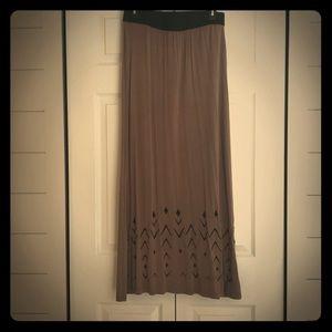 Tan W/ Black Aztec Print Floor Length Long Skirt